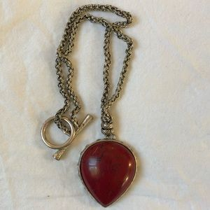 Lucky Brand statement red pendent necklace